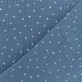 Double cotton gauze fabric - wave blue Star x 10cm