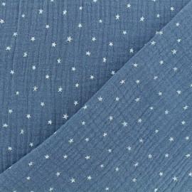 Double cotton gauze fabric - wave blue Star x 10cm