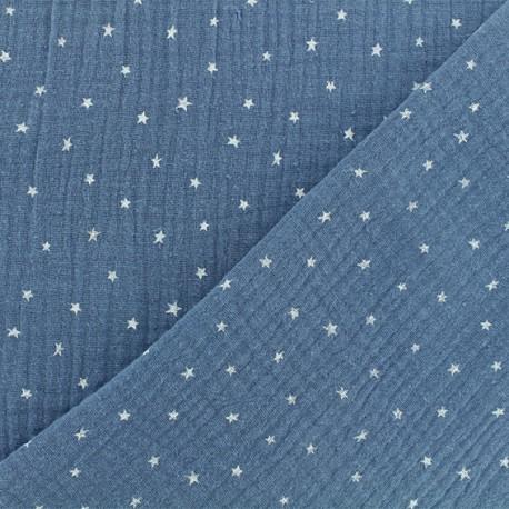 Tissu double gaze de coton étoile - bleu houle x 10cm