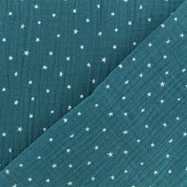 Tissu double gaze de coton étoile - paon x 10cm