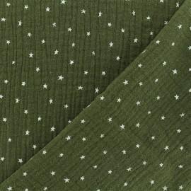 Tissu double gaze de coton étoile - kaki x 10cm