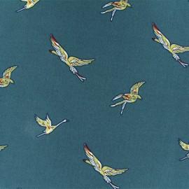 Tissu Polyester Grue sauvage - Pétrole x 10cm
