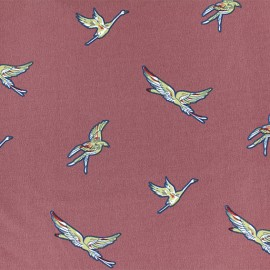 Tissu Polyester Grue sauvage - Bois de rose x 10cm