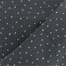 Tissu double gaze de coton étoile - ardoise x 10cm