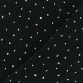 Double cotton gauze fabric - black Star x 10cm
