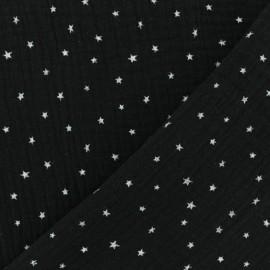 Tissu double gaze de coton étoile - noir x 10cm