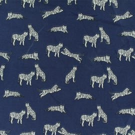 Tissu Microfibre Tigre blanc - marine x 10cm