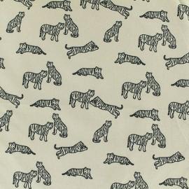 Lycra fabric - Beige Tigre Blanc x 10cm