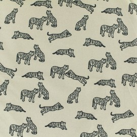 Tissu Microfibre Tigre blanc - Beige x 10cm