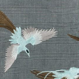 Tissu Tailleur Prince de Galles brodé Envolée - gris/noir x 10cm