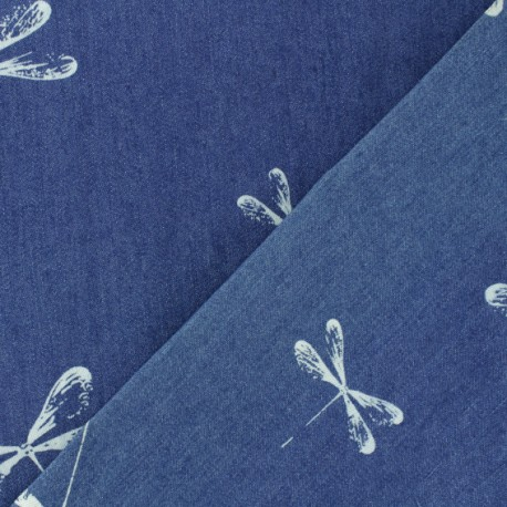 Tissu jeans Libellule - bleu x 31cm