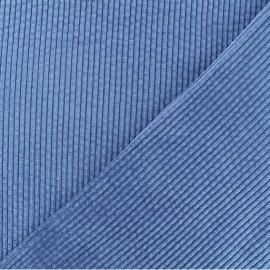 Thick ribbed velvet fabric - Wave blue Charlie x 10cm