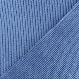 Tissu velours grosses côtes Charlie - Bleu houle x10cm