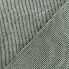 Tissu velours grosses côtes Charlie -  Lichen x10cm