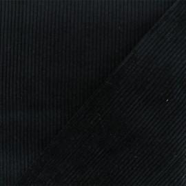 Tissu velours grosses côtes Charlie - Noir x10cm