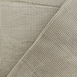 Thick ribbed velvet fabric - Taupe Charlie x 10cm