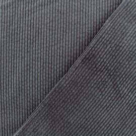Thick ribbed velvet fabric - Storm Grey Charlie x 10cm