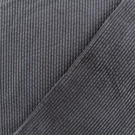 Tissu velours grosses côtes Charlie - Gris Orage x10cm