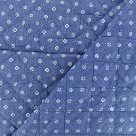 Quilted Denim Fabric - Blue Flower x 10cm
