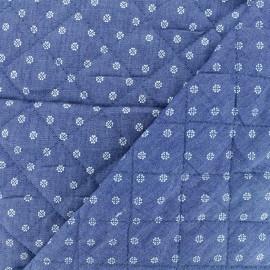 Tissu Jean matelassé Fleurs - bleu x 10cm