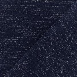 Tissu jersey lurex - Bleu/Argent x 10cm