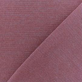 Tissu jersey lurex - Vieux Rose/argent x 10cm