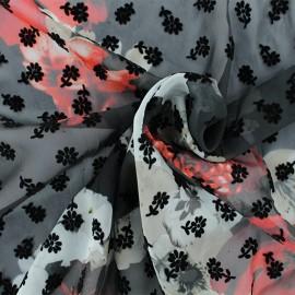 ♥ Coupon 200 cm X 140 cm ♥  Tissu mousseline floqué Mathilde - noir