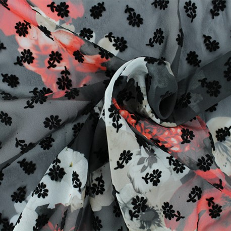 Flocked muslin Fabric - Black Mathilde x 50cm