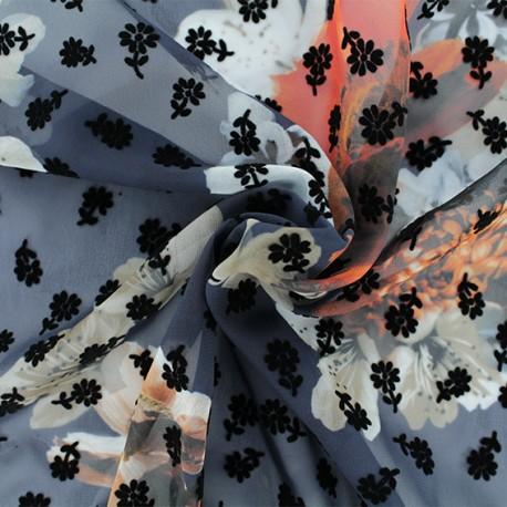 Tissu mousseline floqué Mathilde - bleu marine x 50cm