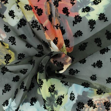 Flocked muslin Fabric - Brown Mathilde x 50cm
