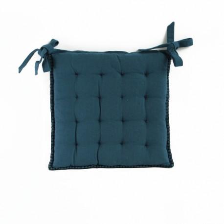 Galette de Chaise Portofino 45x45 cm - Bleu Pétrole