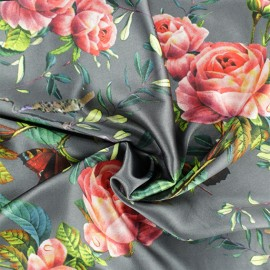 Tissu satin polyester Aglaé - Gris x 10cm