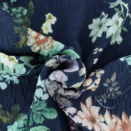 Tissu polyester gaufré Maiko - bleu x 10cm