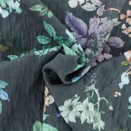 Tissu polyester gaufré Maiko - gris x 10cm
