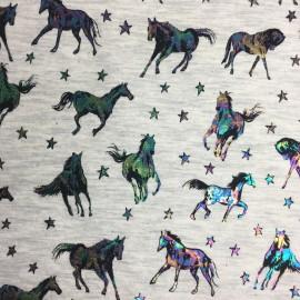 Poppy Jersey fabric - ecru/metallic Galactic Horse x 10cm