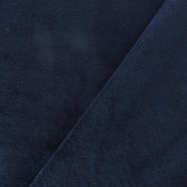 Velvet towelling jersey fabric - blue night x 10cm