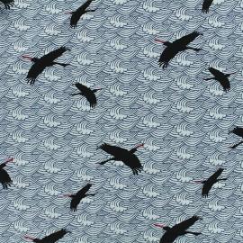 Tissu Viscose Grue Japonaise - Ecru x 10cm