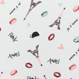 Georgette Crepe Fabric - White Paris Je t'aime x 10cm