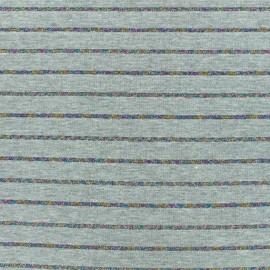 ♥ Coupon 100 cm X 160 cm ♥ Tissu maille jersey rayé lurex - gris/irisé