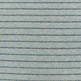 ♥ Only one piece 100 cm X 160 cm ♥ Jersey fabric - grey Lurex stripes