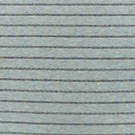 Jersey fabric - grey Lurex stripes x 10cm