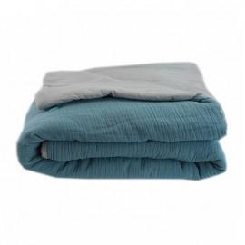 Quilted Blanket 130x170 cm - River Blue Jaipur