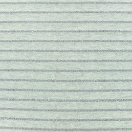 Jersey fabric - Off-white Lurex stripes x 10cm