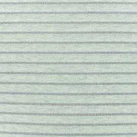 Tissu maille jersey rayé lurex - écru x 10cm