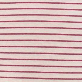 Tissu maille jersey rayé lurex - rose x 10cm