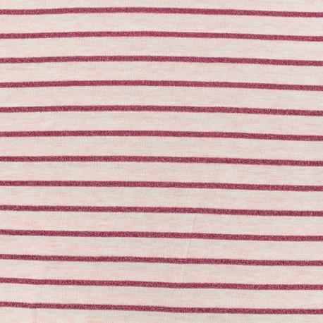 Jersey fabric - Pink Lurex stripes x 10cm