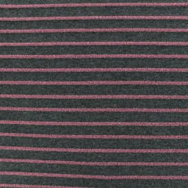 Jersey fabric - dark grey Lurex stripes x 10cm