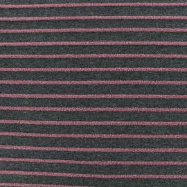 Tissu maille jersey rayé lurex - gris/rose x 10cm