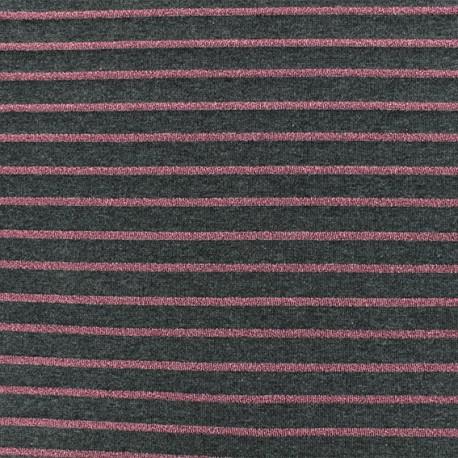 Tissu maille jersey rayé lurex - gris foncé x 10cm