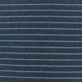Tissu maille jersey rayé lurex - Bleu x 10cm